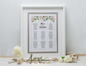 ślubna tablica gości