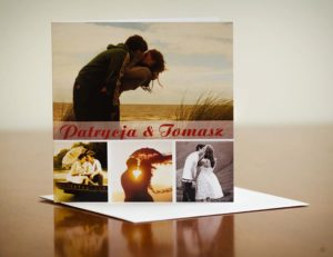 przykład ślubnego zaproszenia ze zdjęciem