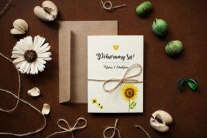 weselne zaproszenie ze słonecznikiem